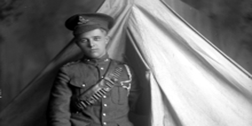 Soldier in tent