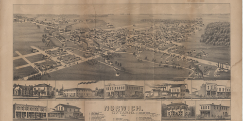 old newspaper clipping of arial photo of town of norwich