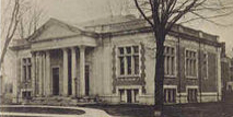 black and white newspaper clipping of woodstock library