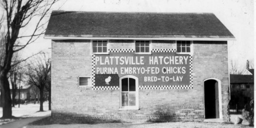 Platsville hatchery black and white building photo