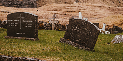image of headstones in cemetery